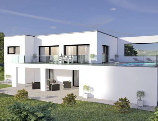 Maison moderne avec pièce de vie à l'etage